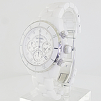 Chanel J12 41mm White Ceramic Automatic Chronograph Diamond Markers Watch