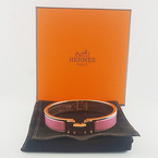 Authentic Hermes Rose Velours Clic Clac H Narrow Enamel Bracelet 5.5in