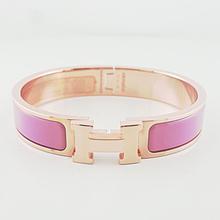 Authentic Hermes Rose Velours Clic Clac H Narrow Enamel Bracelet 5.5in