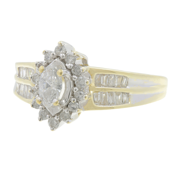 Ladies Estate 10K Yellow Gold Marquise-Cut Diamond Halo Cocktail Ring - 1.08CTW