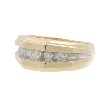 Men's Estate 14K Brushed & Polished Yellow Gold Round Diamond Band Ring - 0.50CTW