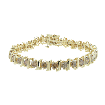 Ladies Estate 14K Yellow Gold Round Champagne Diamond Tennis Bracelet - 6.00CTW