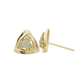 Ladies Estate 14K Yellow Gold Diamond Cluster Trillion-Shaped Triangle Earrings