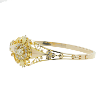 Ladies Estate Antique 14K Yellow Gold Old-Mine Cut Diamond Bangle Bracelet
