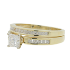 Ladies Estate 14K Yellow Gold Diamond Engagement Ring & Wedding Band Duo Set - 1.00CTW