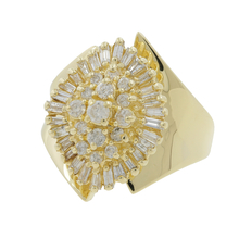 Ladies Estate 14K Yellow Gold Diamond Cluster Bypass Cocktail Ring - 1.00CTW