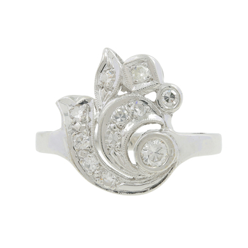 Ladies Vintage Classic Estate 14K White Gold Floral Motif Diamond Ring - 0.42CTW