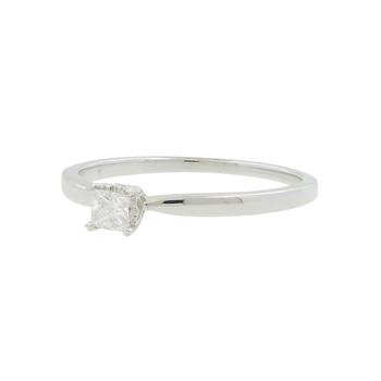 Ladies 14K White Gold Princess-Cut Diamond Solitaire Engagement Wedding Ring
