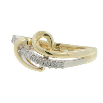 Ladies Vintage Classic Estate 10K Yellow Gold Heart Design Diamond Bypass Ring