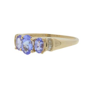 Ladies Estate 10K Yellow Gold Oval Blue Glass Three-Stone & Diamond Accent Ring