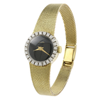 Authentic Vintage Concord Mechanical 14K Gold Diamond Bezel Ladies Watch 0.72CTW