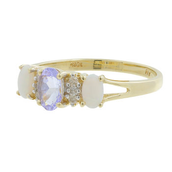 Ladies Estate 10K Yellow Gold White Diamond, Purple Iolite & Opal Gemstone Ring