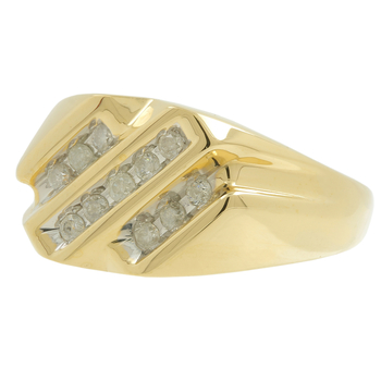 Men's Vintage Classic Estate 10K Yellow Gold Diamond Diagonal Rows Signet Ring