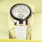 Ladies Invicta Ceramics Gold-Tone Stainless White Silicone Strap Watch - 22205