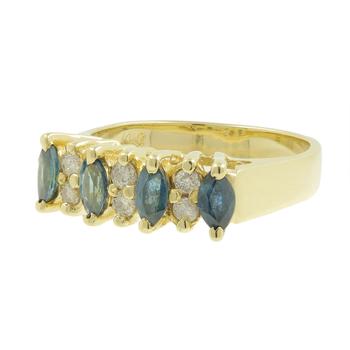 Ladies Estate 14K Yellow Gold Marquise Blue Topaz & Round Diamond Gemstone Ring