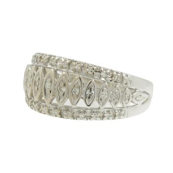 Ladies Vintage Classic Estate 10K White Gold Round Diamond Band Ring - 0.60CTW