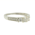 Ladies Vintage Classic Estate 14K White Gold Three-Stone Diamond Ring - 0.50CTW