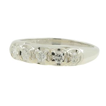 Ladies Vintage Estate 14K White Gold Diamond Five-Stone Ring Band - 0.35CTW