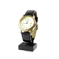 Men's Stauer Roman Numerals w/ Date Gold-Tone Leather Band Watch - 17961