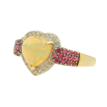 Ladies Classic Estate 14K Yellow Gold Heart-Cut Opal, Quartz & Red Spinel Gemstone Ring