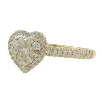 Ladies Estate 10K Yellow Gold Heart-Shaped Diamond Promise Ring - 0.60CTW