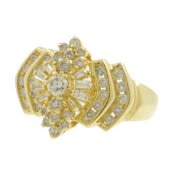 Ladies Vintage Estate 14K Yellow Gold Diamond Cluster Cocktail Ring - 1.15CTW