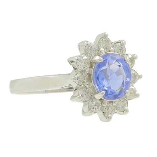 Ladies Estate 14K White Gold Blue Mystic Topaz Gemstone & Diamond Halo Cocktail Ring