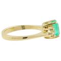 Ladies Estate 14K Yellow Gold Green Emerald Gemstone & Diamond Accent Ring