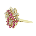 Ladies Estate 14K Yellow Gold Red Spinel & Diamond Gemstone Swirl Bypass Cocktail Ring