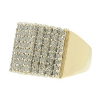 Ladies Men's Vintage Estate 10K Yellow Gold Diamond Cluster Ring - 1.44CTW