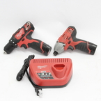 Milwaukee M12 Drill/Driver 2407-20 & Impact Driver 2450-20 Cordless Combo Kit