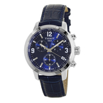 Men's Tissot PRC 200 Blue Dial & Leather Strap Chronograph Watch - T055417A