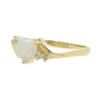 Ladies Estate 10K Yellow Gold Heart-Cut Opal & Cubic Zirconia Gemstone Promise Ring