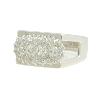 Ladies Men's Estate 14K White Gold Round Old Mine-Cut Diamond Ring - 0.94CTW