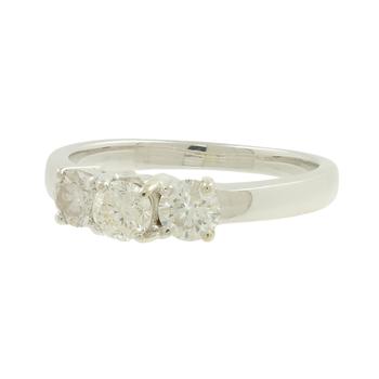 Ladies Modern 14K White Gold Three-Stone Diamond Promise Engagement Ring 0.60CTW