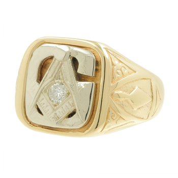 Men's Vintage Classic Estate 14K Yellow & White Gold Masonic Signet Diamond Ring