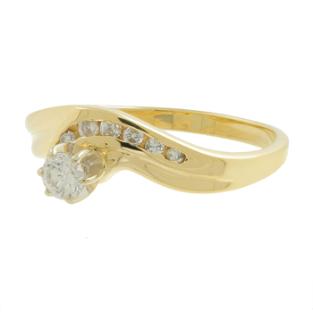 Ladies Estate 14K Yellow Gold Diamond Solitaire w/ Accent Bypass Ring Band