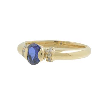 Ladies Estate 14K Yellow Gold Oval Blue Topaz & Cubic Zirconia Gemstone Ring
