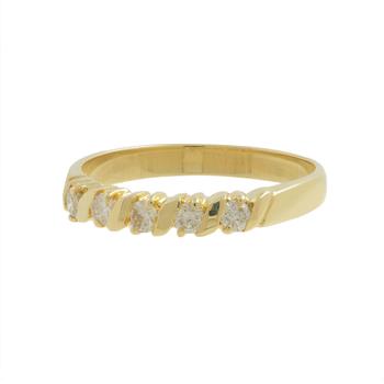 Ladies Vintage Estate 14K Yellow Gold Round Diamond Five-Stone Ring - 0.35CTW