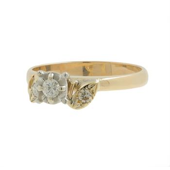 Ladies Vintage Classic Estate 14K Yellow Gold Diamond Three-Stone Ring