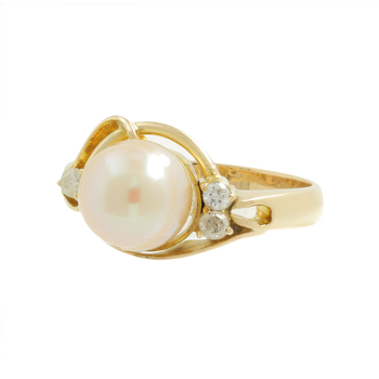 Ladies Classic Estate 14K Yellow Gold Pearl & Diamond Accent Bypass Swirl Ring