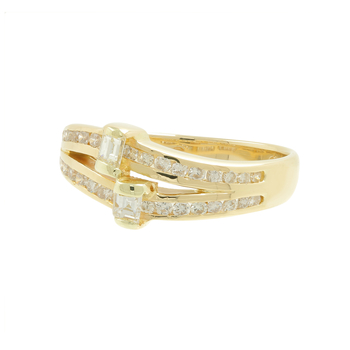 Ladies Estate 14K Yellow Gold Princess & Round Diamond Swirl Bypass Ring - 0.67CTW