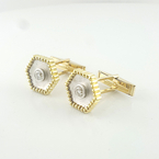 Mens 18K Luxuries Brilliant Round Half Carat Total Diamond Custom Made Cufflinks