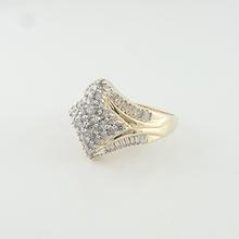 Ladies Estate Pyramid Shaped 14k Yellow Gold 1.30 CTW Cluster Diamond Ring