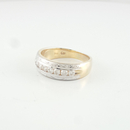 Elegant Mens 14K Yellow Gold Channel Set Diamond Band Hand Engraved Wedding Ring