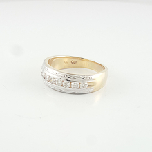 Elegant Mens 14K Yellow Gold Channel Set Diamond Band Hand Engraved Wedding Ring