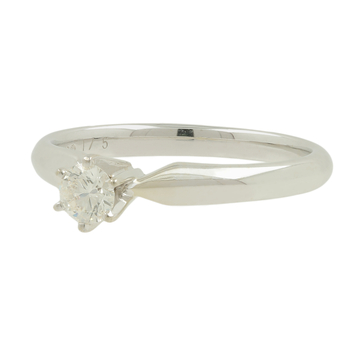 Ladies 14K White Gold Round Diamond Solitaire Engagement Ring Band 0.18CTW - New