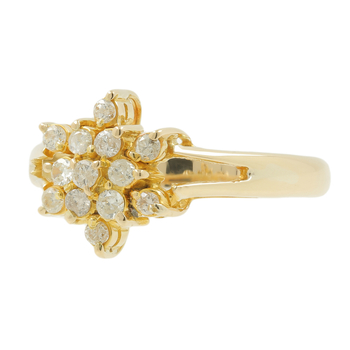 Ladies Vintage Estate 14K Yellow Gold Rosette Cluster Flower Diamond Floral Ring