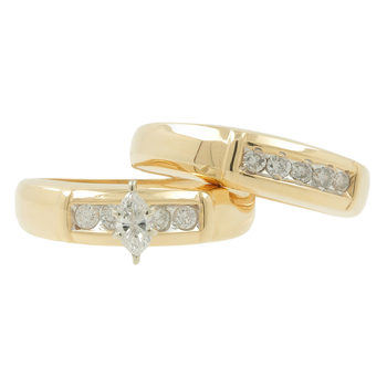 Ladies Estate 14K Yellow Gold Marquise Diamond Engagement Ring & Wedding Band
