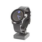 Men's Movado Bold Blue Dot Black Dial Leather Strap 42mm Watch - MB.01.1.29.6003